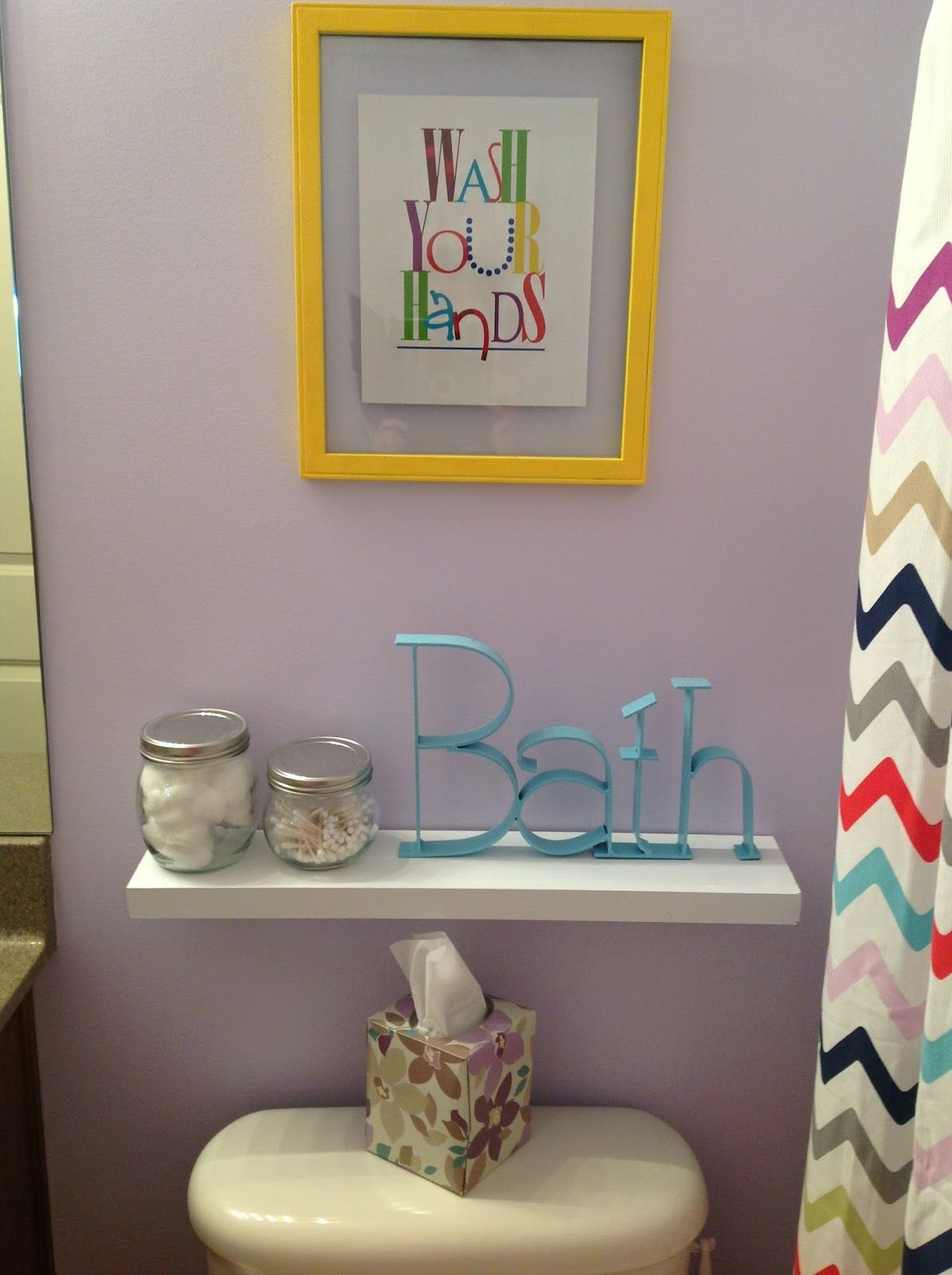 Bathroom, : Gorgeous Ideas For Unisex Kid Bathroom Decoration Using Light  Plum Bathroom Wall Paint Along With White Seashell Bathroom Decor And  Colorful ...