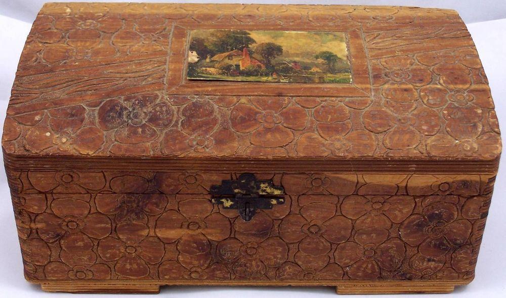Antique Carved Wood Jewelry Trinket Box Flower Design with Mirror Folk Art Box