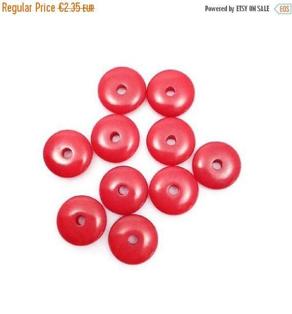 10 Tagua Linsen, rot, 8mm, 10 Stück, Tagua Perlen, Scheiben, Tagua Scheiben, Perlen rund, Tagua, Nuss, Palme, Südamerika, Perlen klein