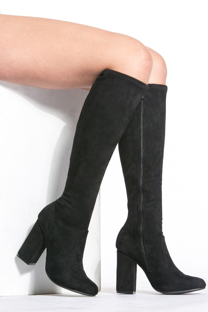 b67d3c856a3 Black Faux Suede Chunky Knee High Boots   Cicihot Boots Catalog women s  winter boots