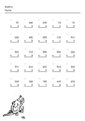 Multiplicaciones Para Primaria Para Imprimir Problemas De Multiplicaciones Matematicas Tercer Grado Matematicas Tercero De Primaria