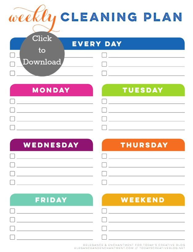 Weekly Cleaning Schedule Printable Lists~Labels~Bath~Cleaning
