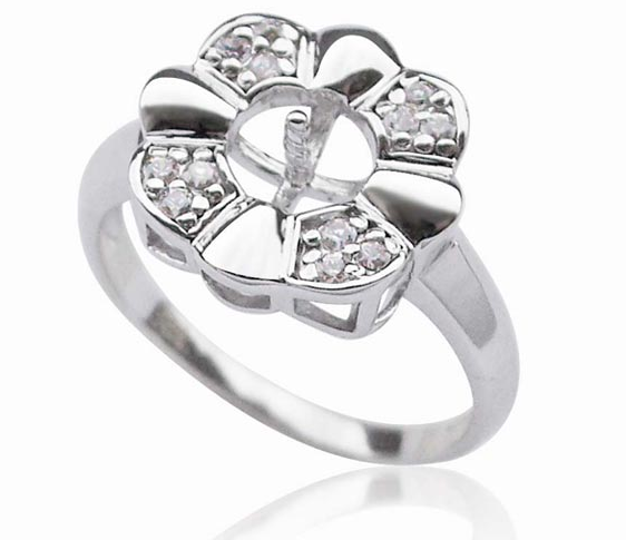 925 Sterling Silver Flower Ring Setting, $21.49