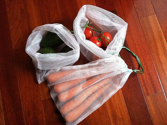 Reusable Mesh Market Produce Bags Bag Set of 3 by BsTextiles
