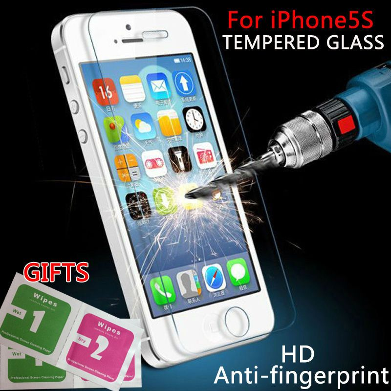 Für iphone 5 s glas 0,26mm auf die für iphone 5 s 7 gehärtetem glas displayschutzfolie für iphone 5/5 s glas bildschirm schutz