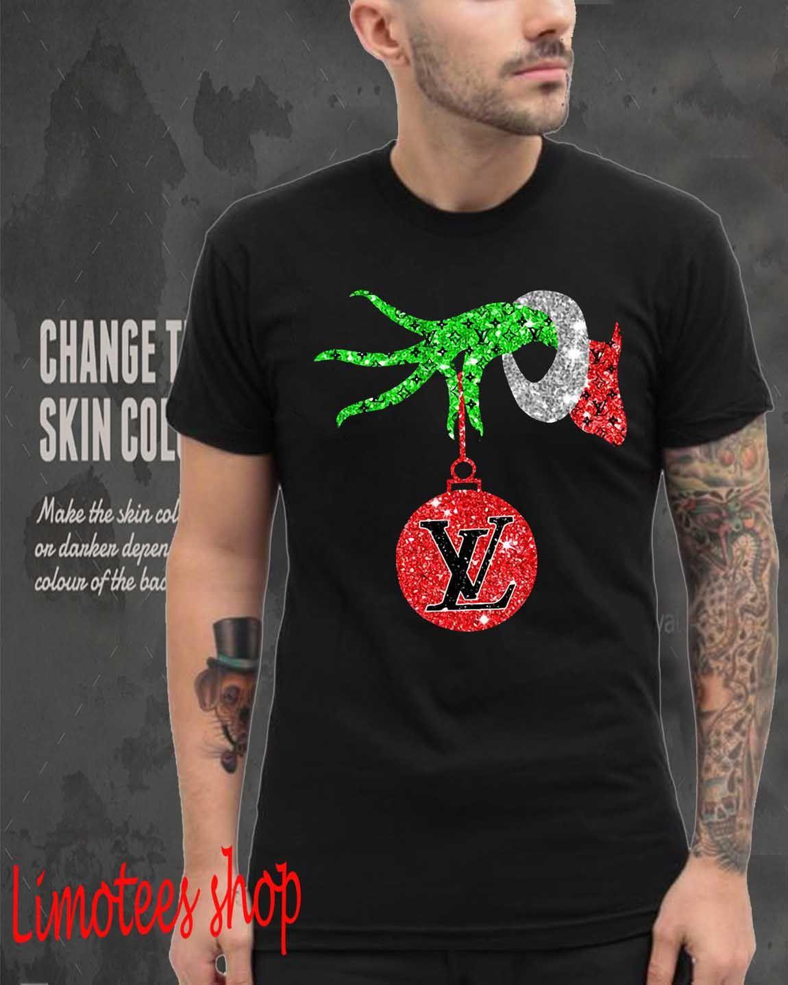 Grinch Hand Holding Louis Vuitton Ornament Shirt Youth Tee V Neck T Shirt Shirts Grinch Hands T Shirt