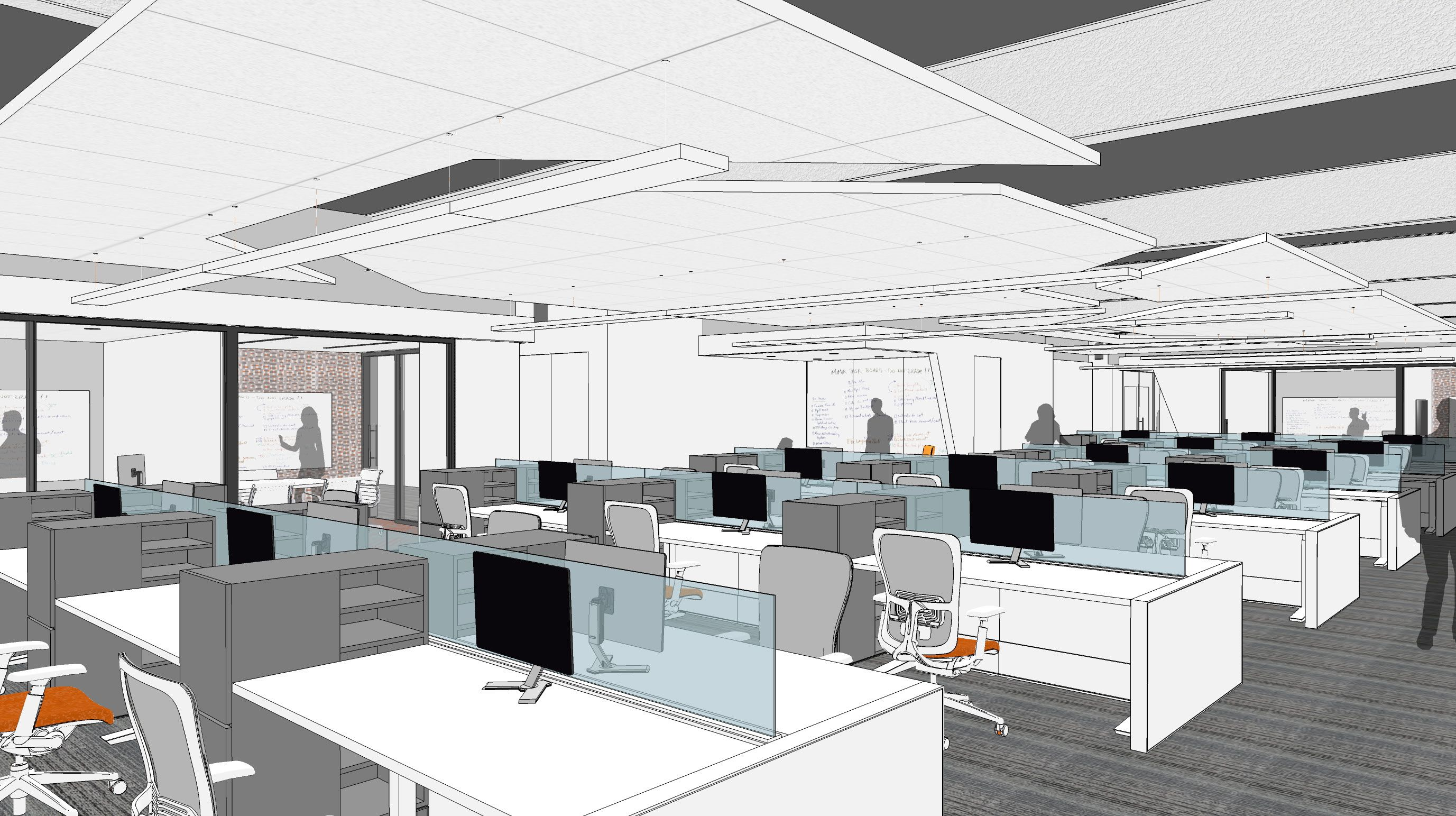 Open Office Exposed Ceiling Carpet Tile 3Form Pendant - Conference