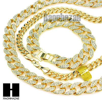 Gold Iced Out Lab Diamond Necklace 15mm 30 24 Miami Cuban Link Chain Bracelet Cuban Link Chain Miami Cuban Link Chain Lab Diamonds