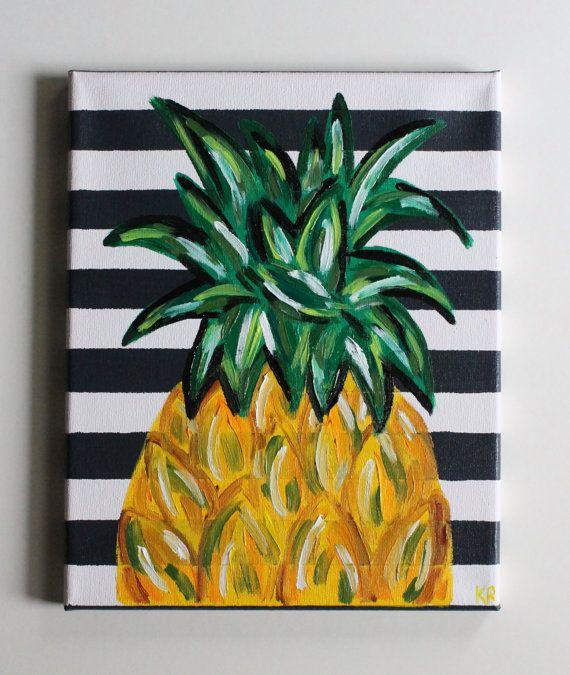 Handmade Abstract Textured Pineapple Art Acrylic Painting