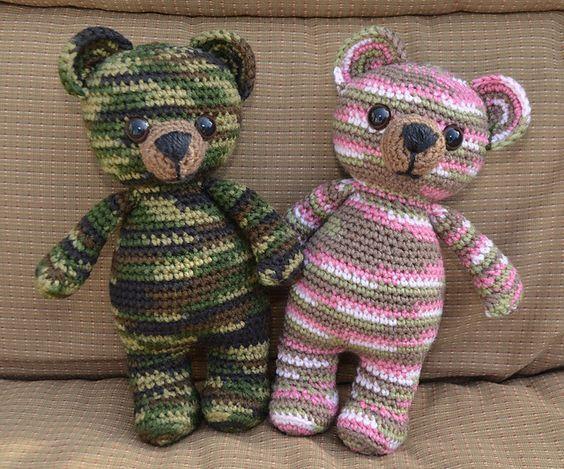 Amigurumi Crochet Patterns Teddy Bears : Camouflage teddy bears pattern by belle tracy teddy bear