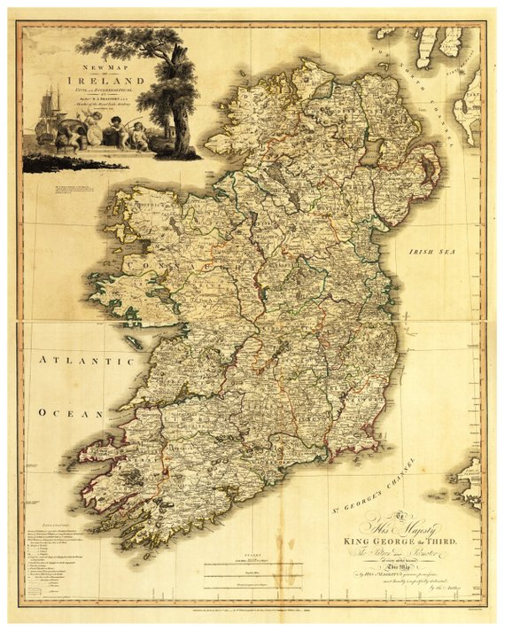 Print Map Of Ireland.Map Of Ireland Vintage Printable Map Old Irish Map Digital