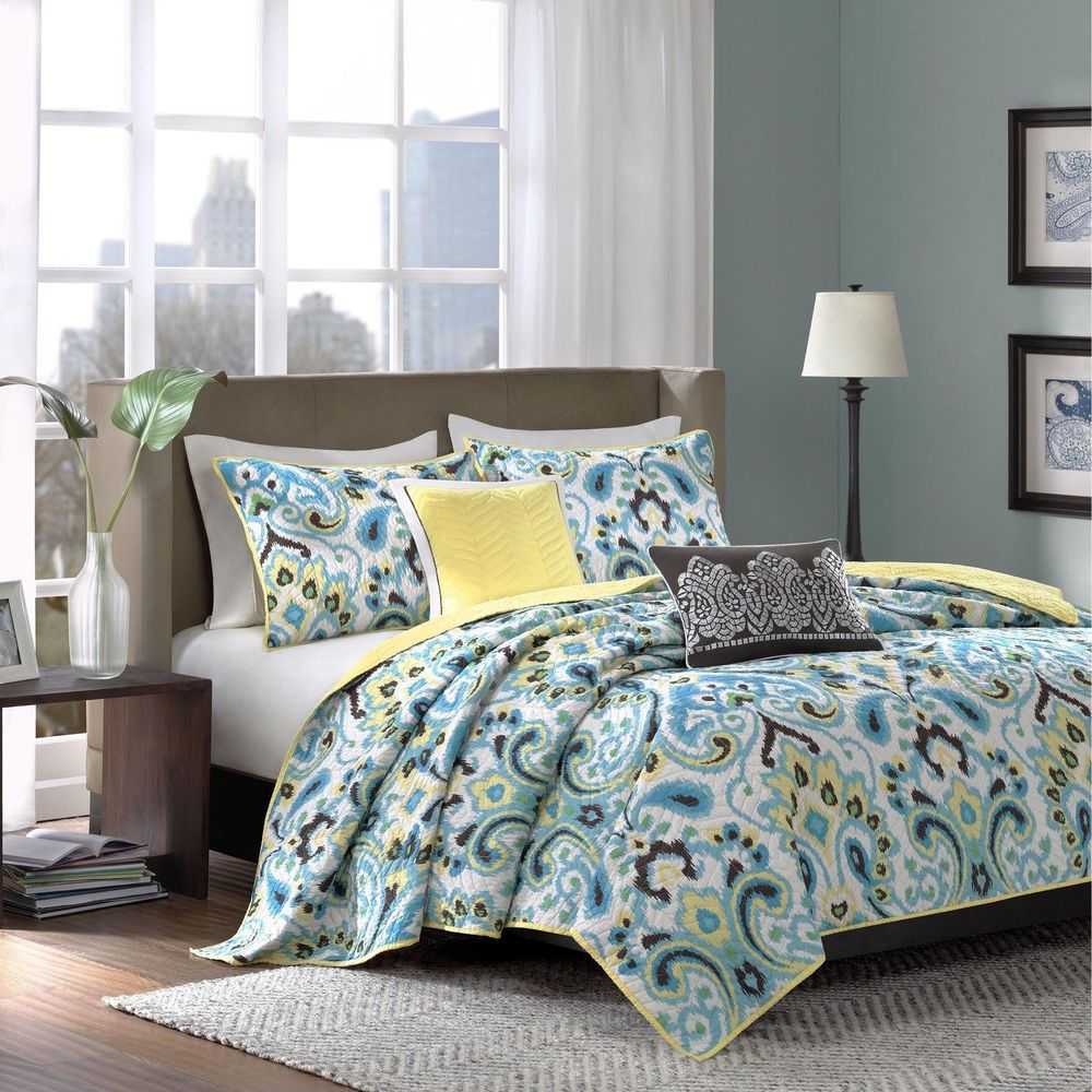 Details About Beautiful 5pc Modern Chic Blue Aqua Teal Yellow