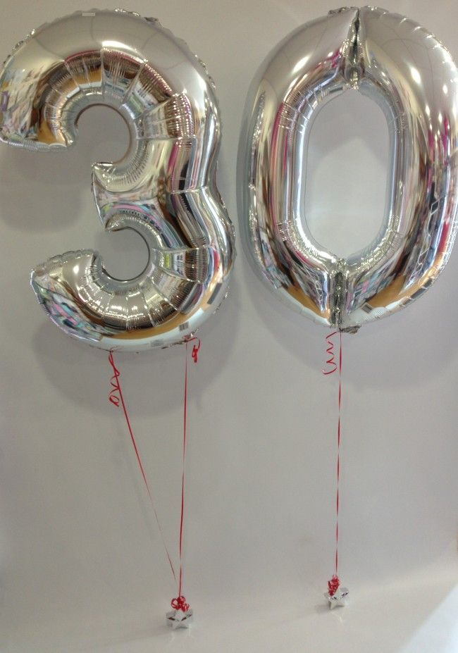 Large Silver 30 Number Balloons With Red Ribbon 30th Birthday