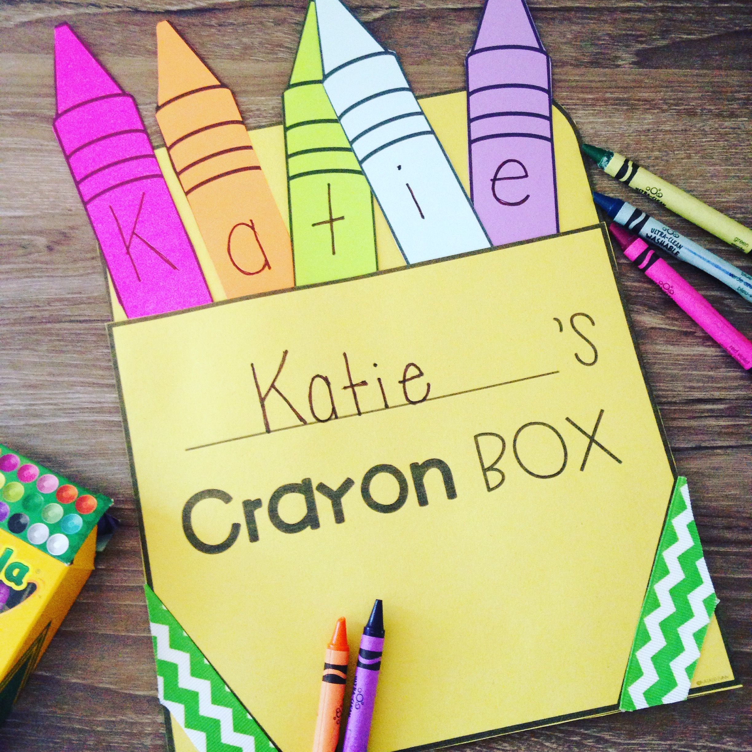 Crayon name activity craft and puzzle name recognition for Arts and crafts for school