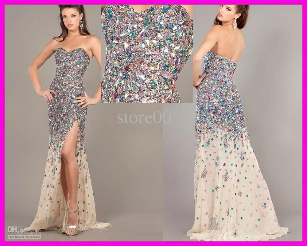 Wholesale 2013 New Fashion Crystals Diamonds Floor Length Side Slit Mermaid Prom Evening Dress E2080, $203.84-228.48/Piece | DHgate