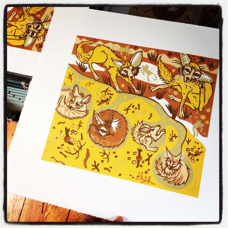 Fennec Fox Woodcut Original Woodcut