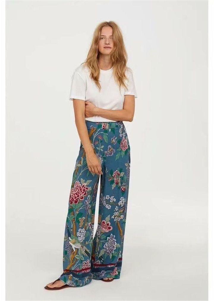 Sheer Pants Vintage Palazzo Pants High Waist Chiffon Pants Floral Print Pants Wide Legged Pants Flower Pants Flowy Pants
