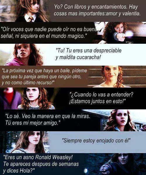 Hermione S Quotes Spanish Hermione Frases Harrypotter Gato