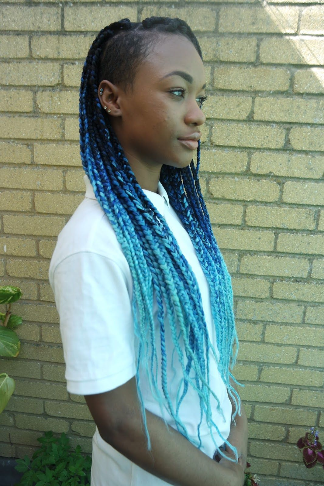 Officialtashika black blue and aqua ombre box braids queen