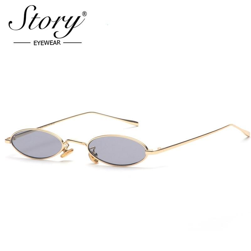 d8e0ffd6c9e9 STORY 2018 Vintage Retro Small Oval Sunglasses For Men Women Gold Metal  Frame Pink Clear Lens Round Eyeglasses 90s Sunglasses