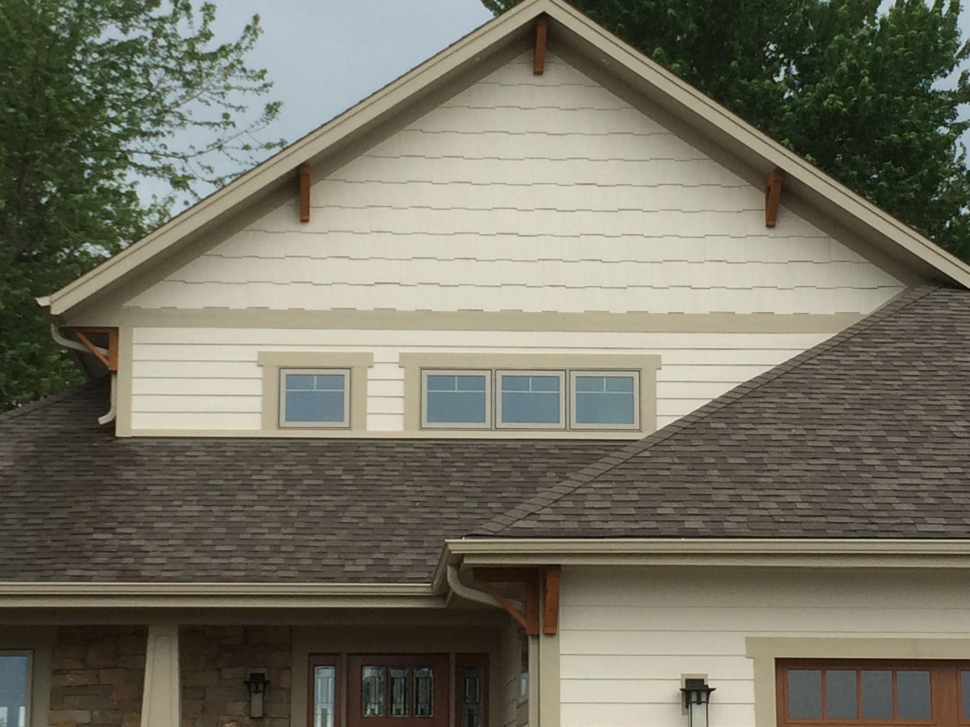 Cedar soffit brackets with gable shaker siding craftsman for Cedar gable brackets