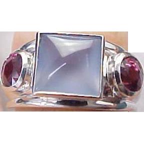 Vintage 14K White Gold Chalcedony & Pink Tourmaline Ring from kingdavidstreasures on Ruby Lane