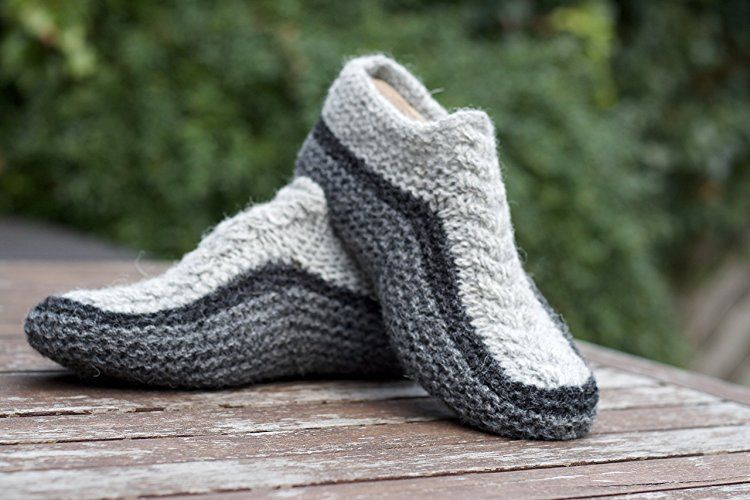 c1052bd49c6f Knit Slippers Wool Socks Grey Chunky Handmade from pure Shetland ...
