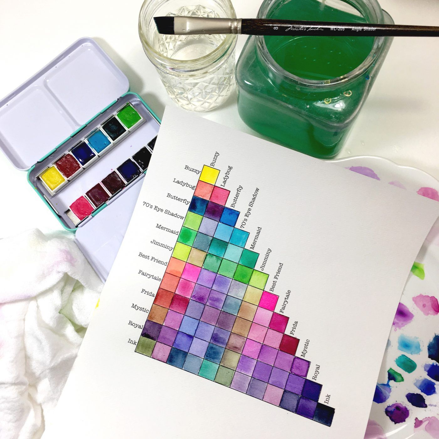 Watercolor Mixing Chart For Jane Davenport Bright Palette