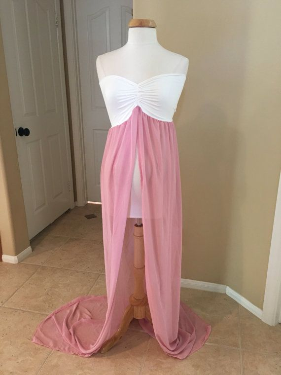67ab76d300a8a Ready to Ship!!!!! Cream/Dusty pink Chiffon Jersey Maternity Gown, one size  fit most