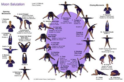 moon salutation charts the moon salutation is sequence
