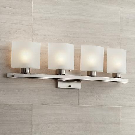 Photo of Possini Euro Linen Glass 32″ Wide Brushed Nickel Bath Light – #64141 | Lamps Plus