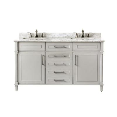Home Decorators Collection Aberdeen 60 In. W X 22 In. D Double Bath Vanity  In Dove Grey With Natural Marble Vanity Top In White 8103700270   The Home  Depot
