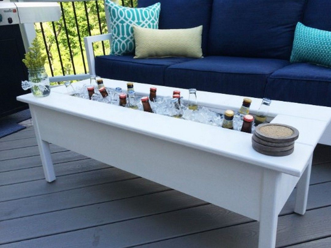 5 Design Your Functional Outdoor Coffee Table As A Beverage Cooler