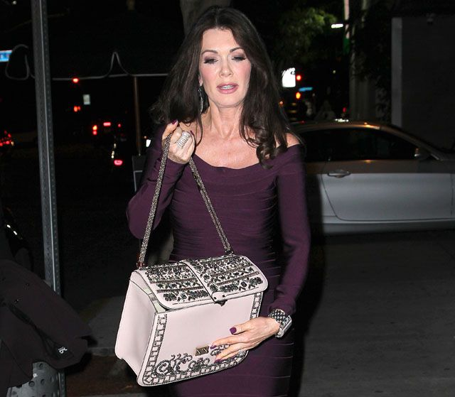 Lisa Vanderpump Goes To A Party In West Hollywood Carries Crystal Packed Valentino Shoulder Bag