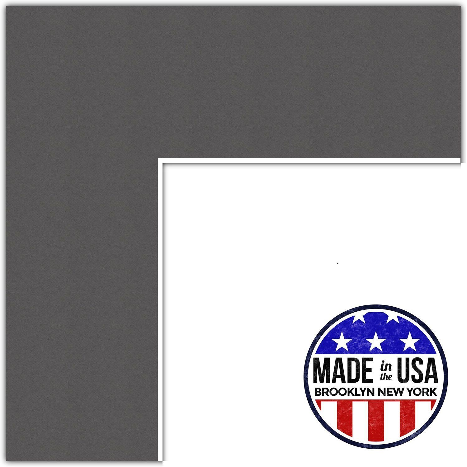 15x21 Cinder / Charcoal Custom Mat for Picture Frame with 11x17 ...