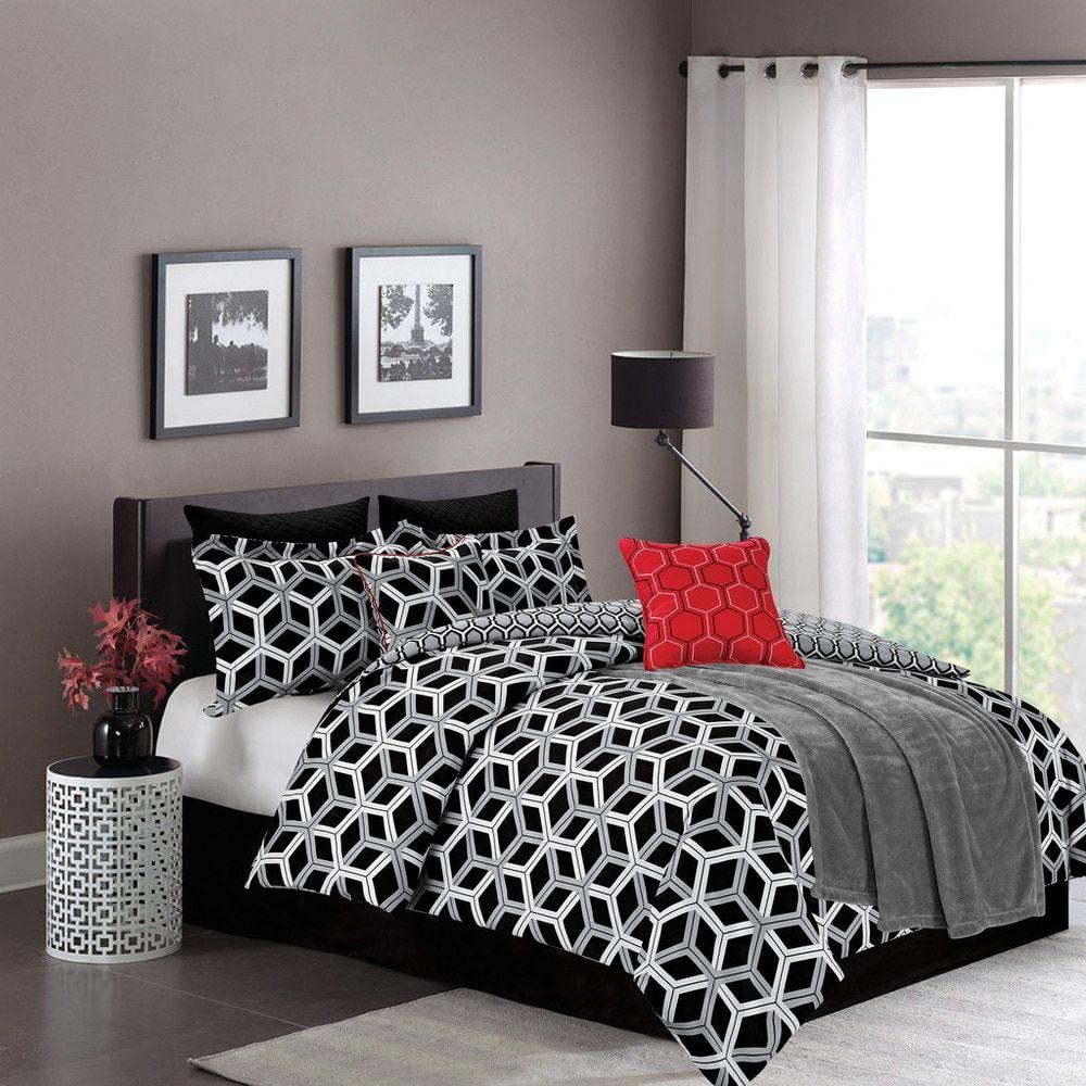 8-Piece Hexagonal Black and White 'James' Comforter Set