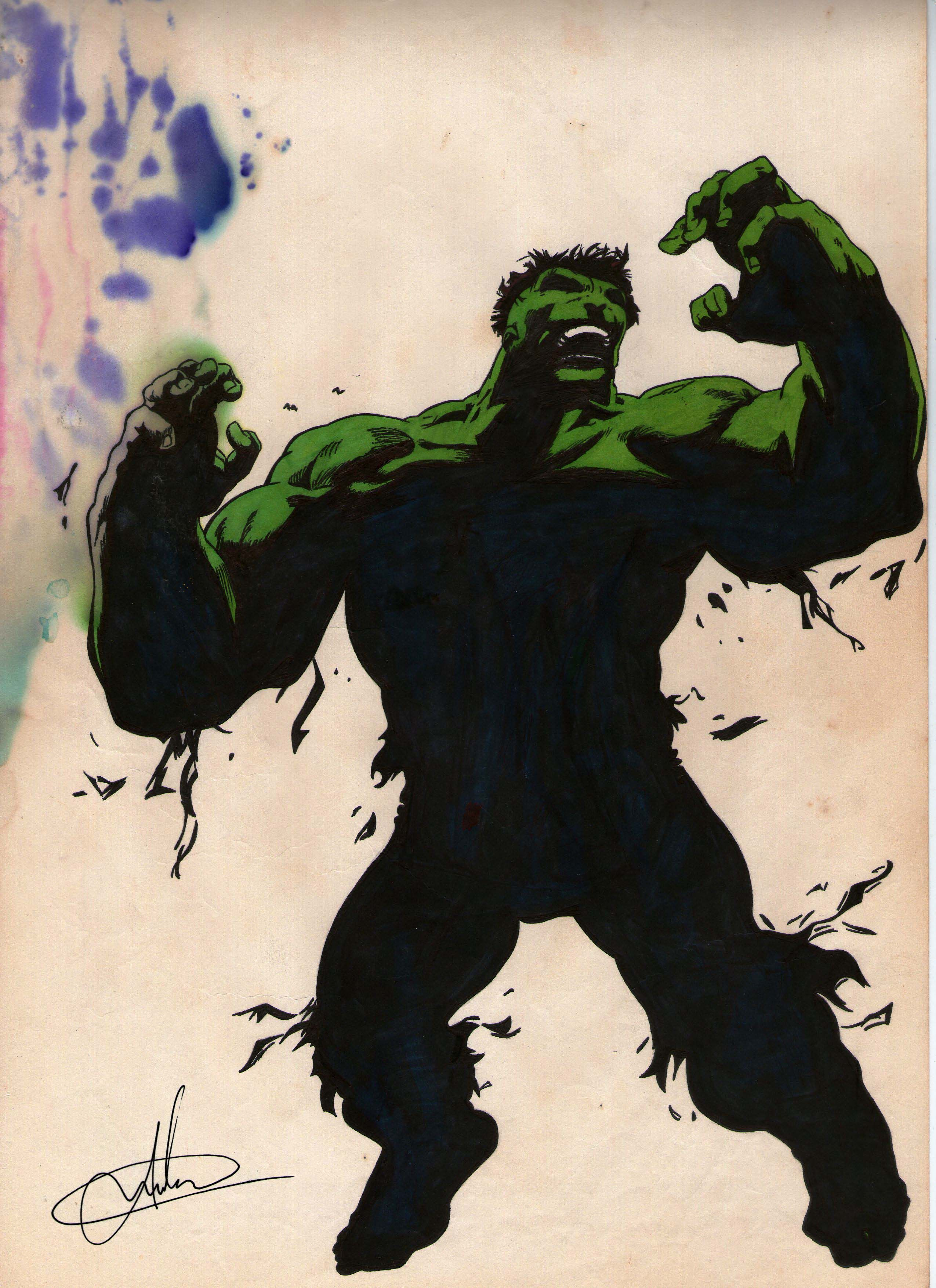 Como pintar o Hul com 2 cores, use 01 hidrocor verde limão no tom raios gama, e 1 pincel atômico preto! O efeito na mão dele foi acidental, é que molhou mesmo e ficou assim!!! :P