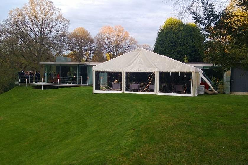 Our fiftieth birthday party with glass house in the background