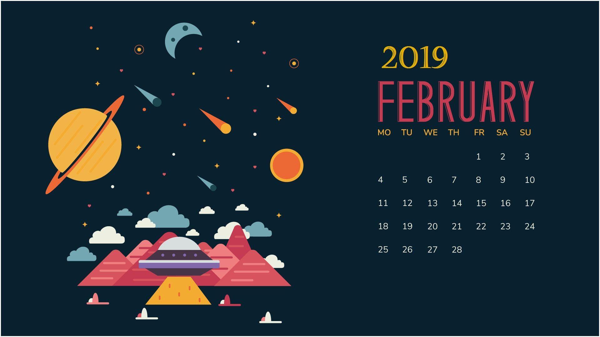 February 2019 Desktop Calendar Calendar Wallpaper February Wallpaper Desktop Calendar