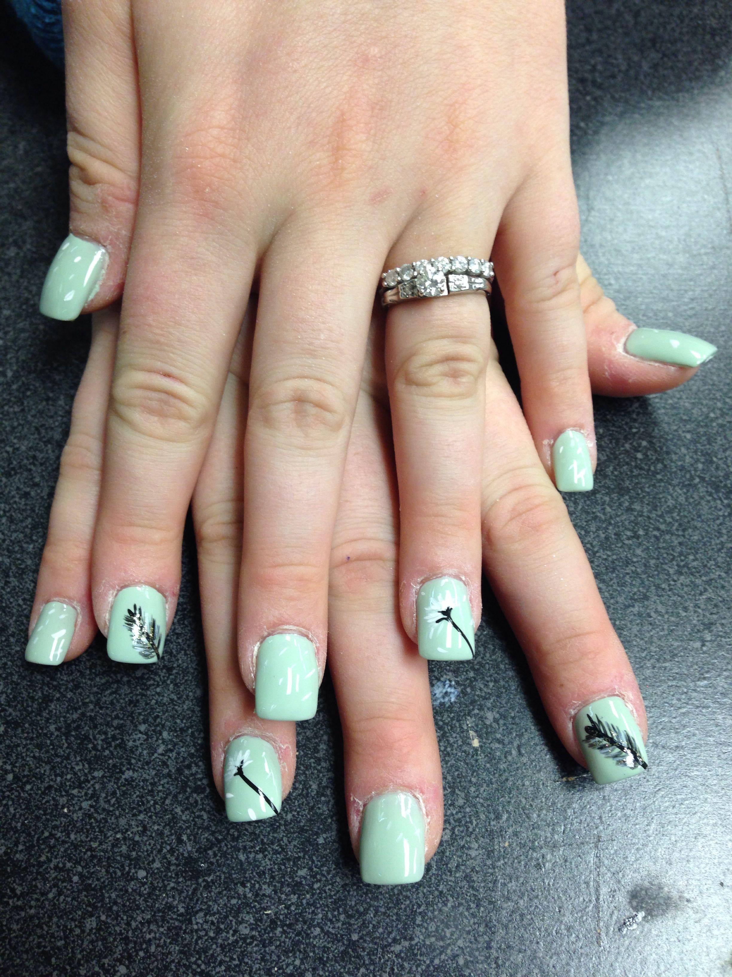 Minty Dandelion Design | Nail Designs | Pinterest | Nails, Design ...