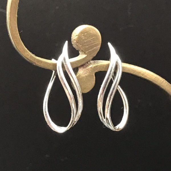 Tri Hoop Earrings Twisted Sterling Hoop Pierced Earrings Vintage Gold and Silver