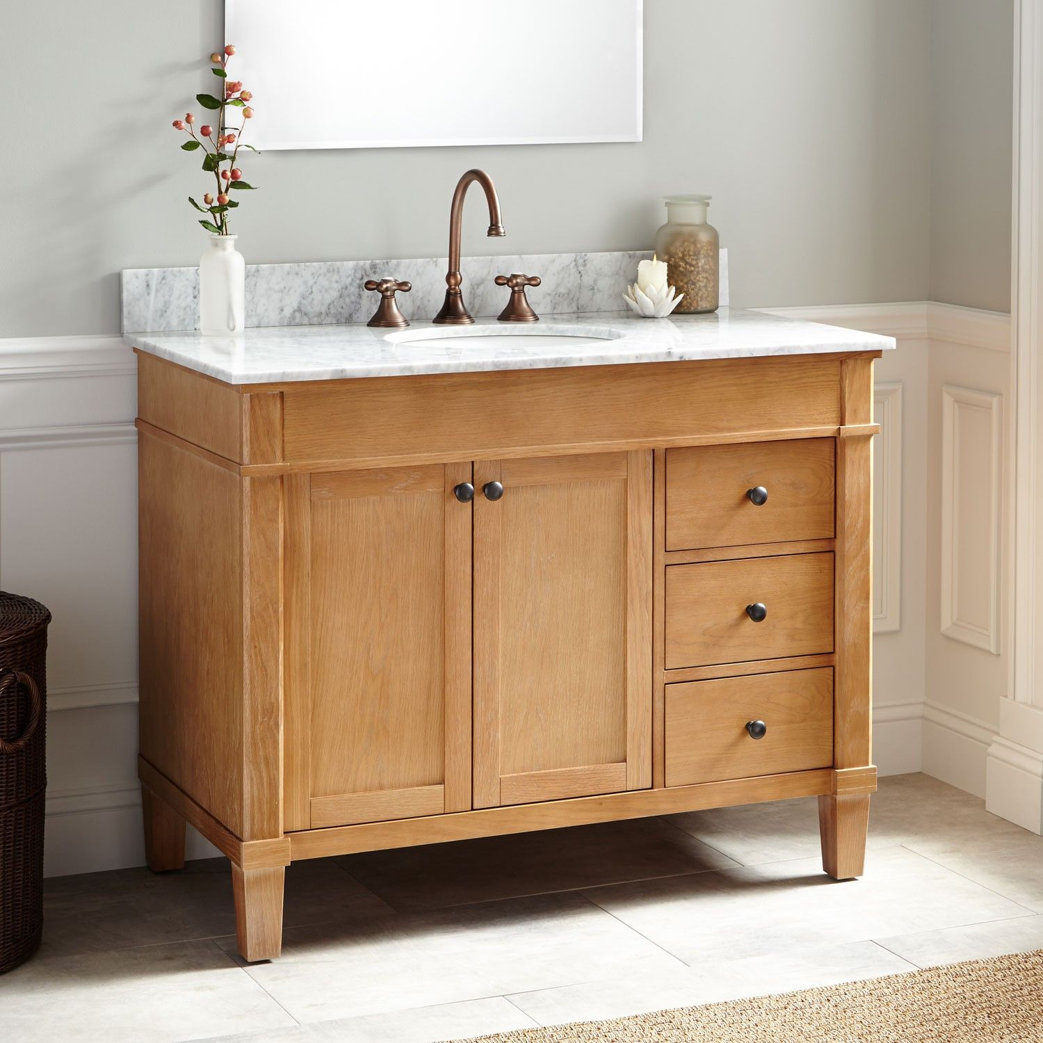 50+ Great Oak Bathroom Vanities And Cabinets