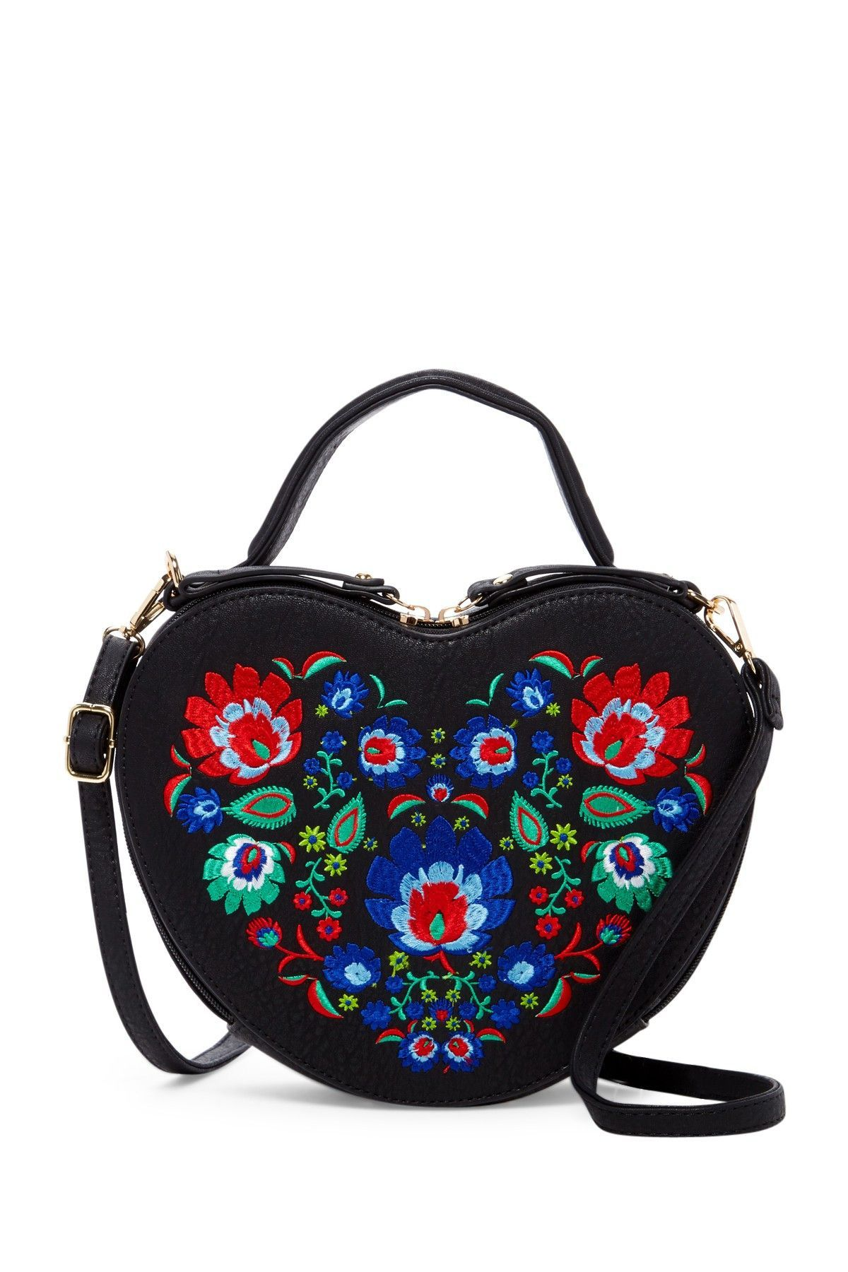 5322db9c7 Bridget Floral Embroidered Heart Crossbody In Black