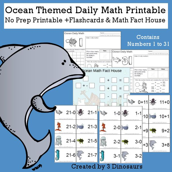 Ocean Daily Number & Math For the Summer | Daily math, Math facts ...