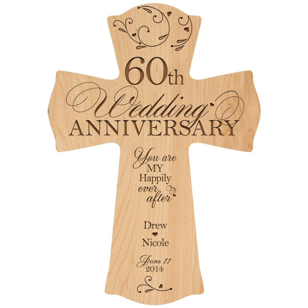 Personalized 60th Wedding Anniversary Gift Cross 60 Year