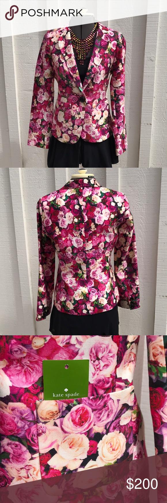 a1ead461 Kate Spade Rose Print Millie Blazer 🌹🌹 Adorable rose print blazer. Length