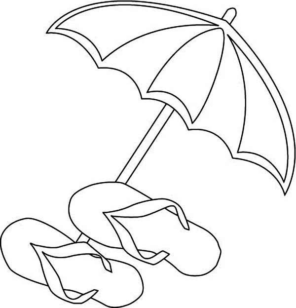 Beach umbrella and flip flops coloring page