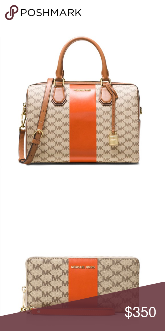 7165f100a96 Michael Kors Mercer Medium Duffle Gorgeous MK duffle with cross body strap  and matching wallet wristlet. Strap is detachable from wallet.