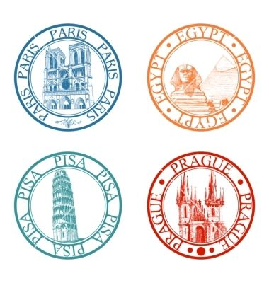 Travel stamps set vector by Danussa on VectorStock®