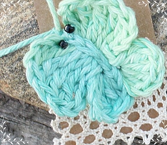 Crocheted Garden Butterfly & Vintage Lace Hang Tag Gift Set